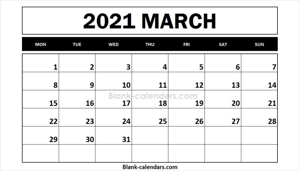 March 2021 Calendar Monday Start September Calendar 2021