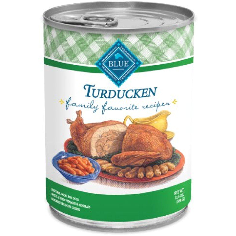 Blue buffalo family favorite canned dog food turducken