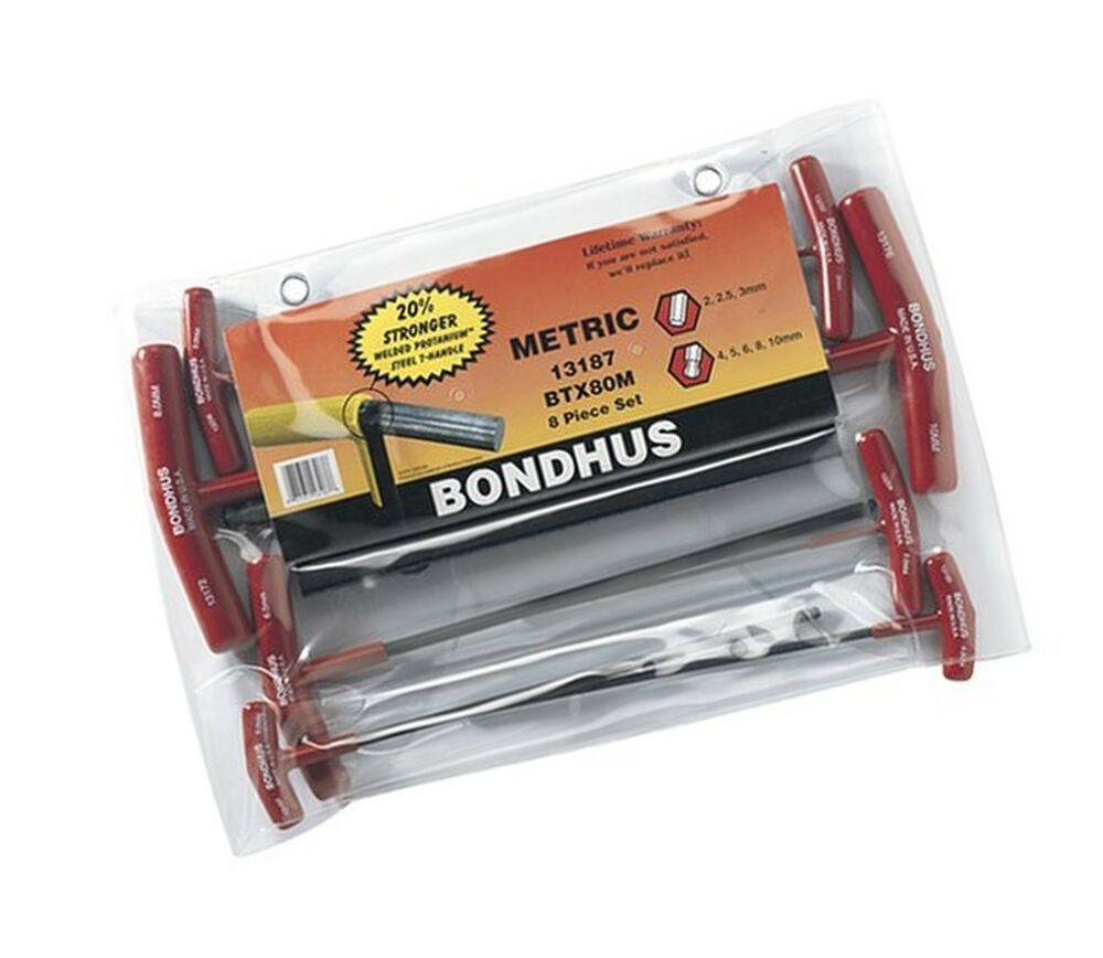 Bondhus 13187 Set of 8 Balldriver and Hex T-handles sizes 2-10mm