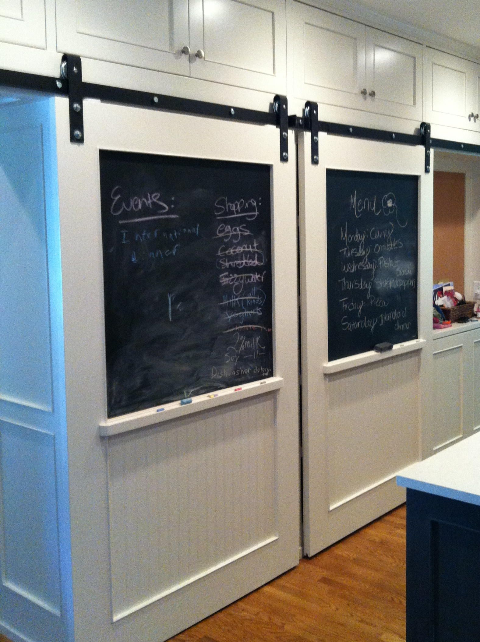 Beautiful Stylish Barn Doors With Chalk Board Could Put Anything In The Chalk Board Inset Area Barn Doors Sliding Barn Door Handles Barn Door