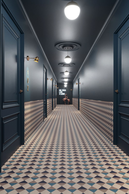 Stylish corridors in 2019 corridor design hotel hallway for Hotel corridor decor