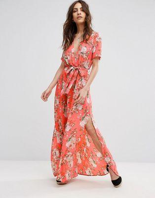 992a10bf5a73e Boohoo   Boohoo Floral Print Tie Waist Wrap Maxi Dress   My Style ...