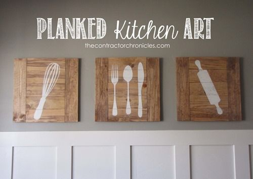 15 do it yourself hacks and clever ideas to upgrade your kitchen 7 planked kitchen art from the contractor chronicles skip to my lou ana whiteeasy diy solutioingenieria Images