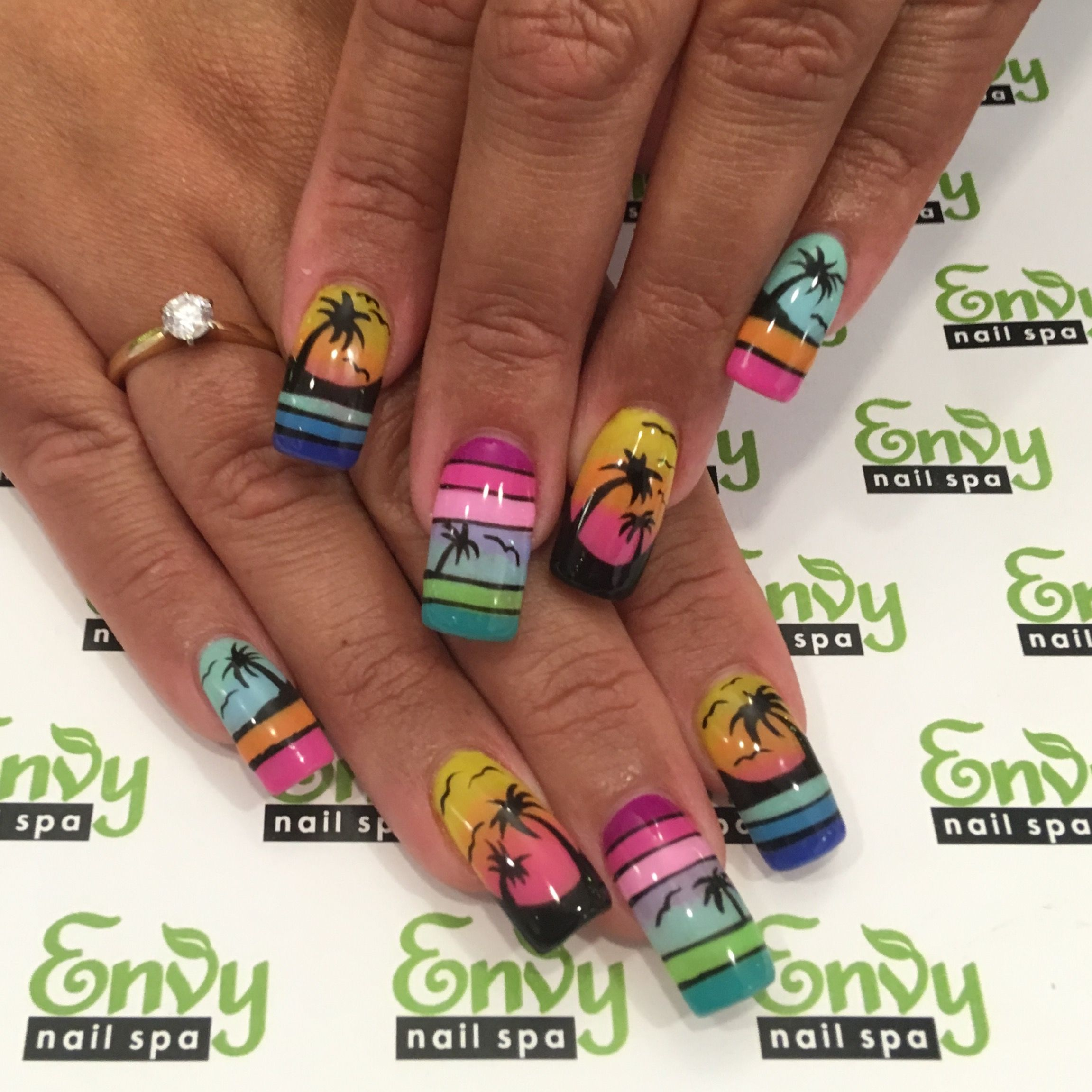Summer Palm Tree Sunset Silhouette Birds Seagull Island Tropical Neon Nails Envy Nail Spa Others Nail Art Summer Acrylic Nails Nails Neon Nails