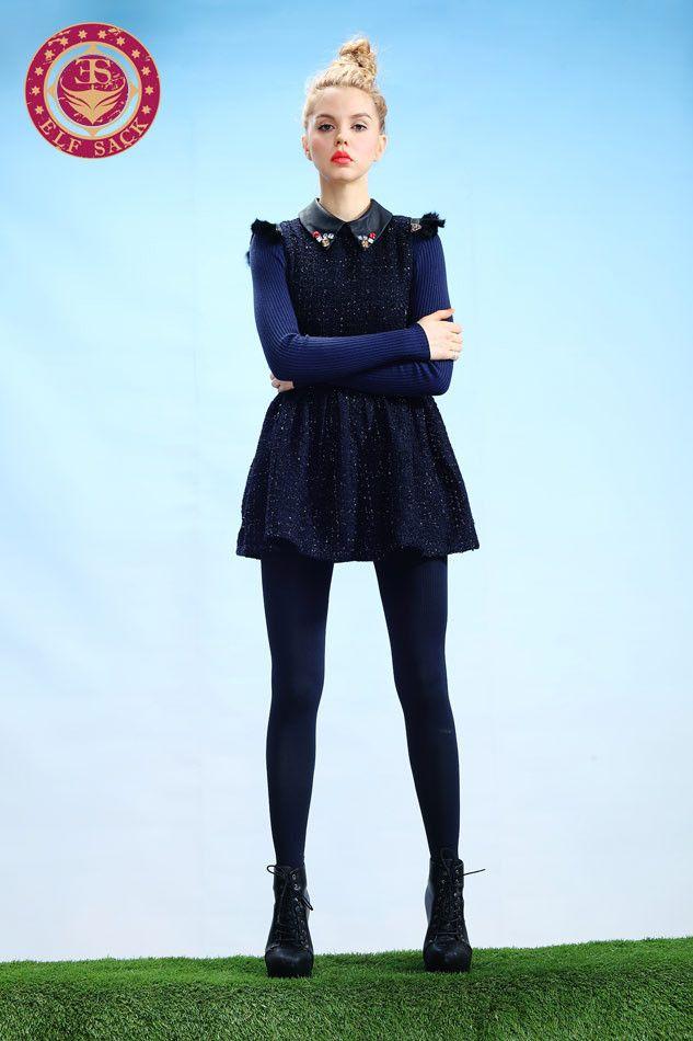 Womens Fashion Retro Polo Collar Gemstone Blue Dress