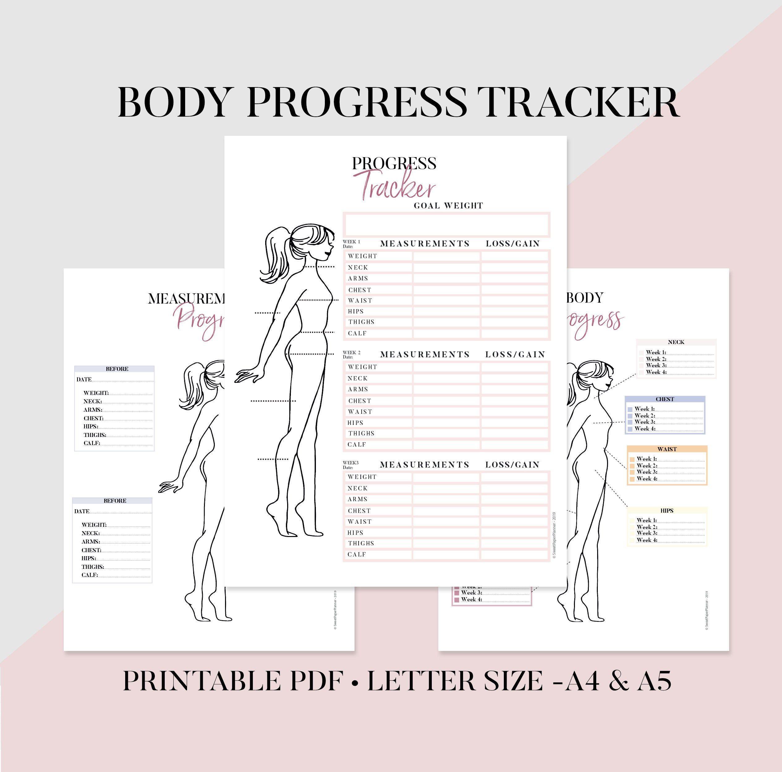 Body Progress Tracker Printable, Body Measurements Tracker, Weight Loss Tracker, Fitness Tracker, Health and wellness, health and fitness -   15 fitness Tracker measurements ideas