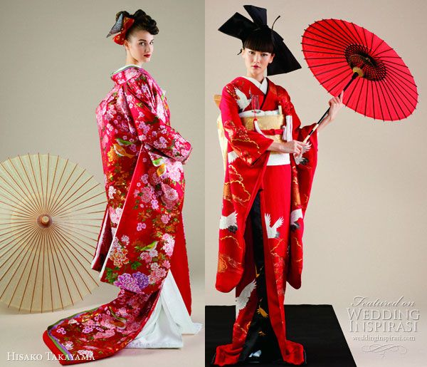 Hisako Takayama Couture Maison -- traditional wedding  dress the japanese kimono in red and white, worn with ceremonial long  coat uchikake