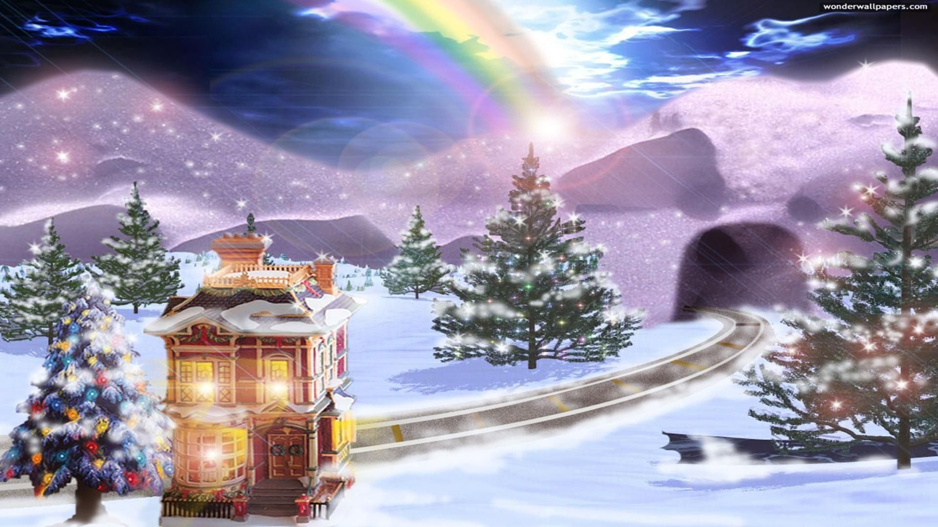 Christmas dreams wallpaper scenic with rainbow over sky free christmas dreams wallpaper scenic with rainbow over sky free greeting card kristyandbryce Choice Image