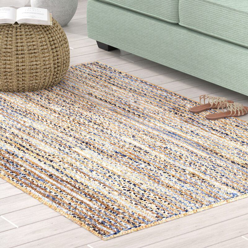 Arbury striped handmade braided blue area rug with images
