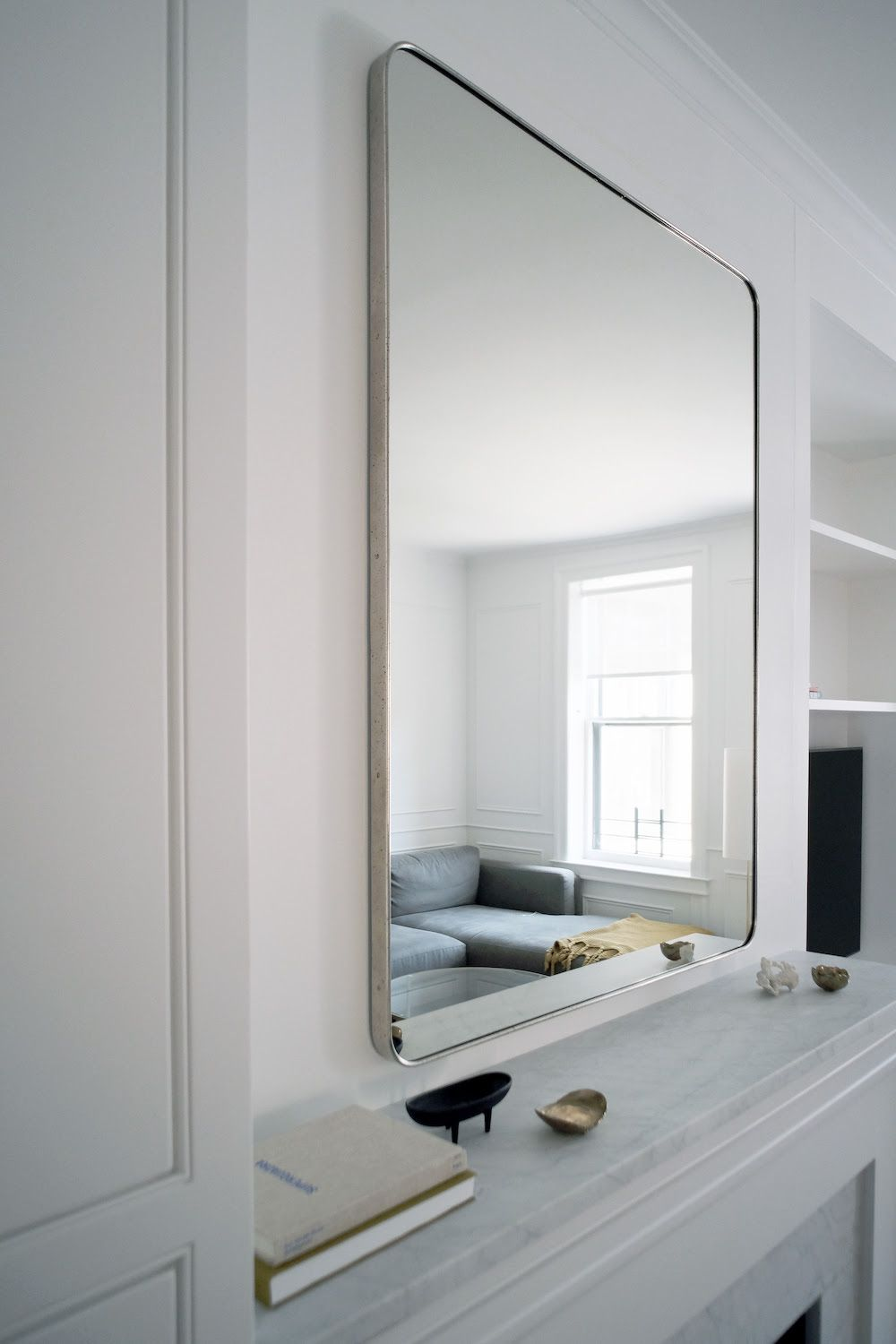 Over fireplace: Bristol Flat Mirror from Restoration Hardware ...