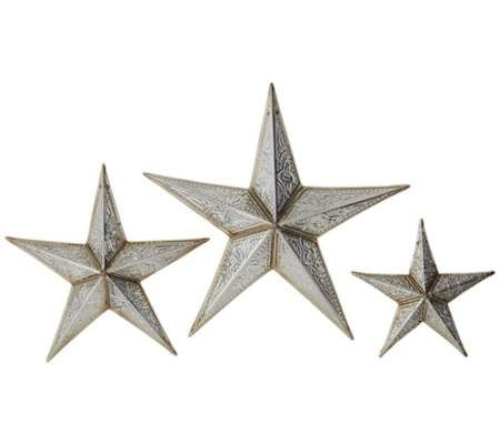 Set Of 3 Silver Tin Stars Wall Decor 55downingstreet New