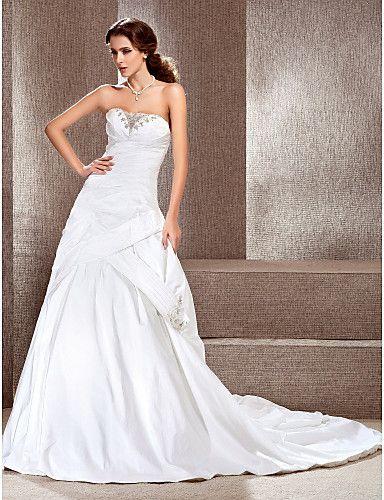 A-line Sweetheart Court Train Taffeta Satin Side-draped Wedding Dress