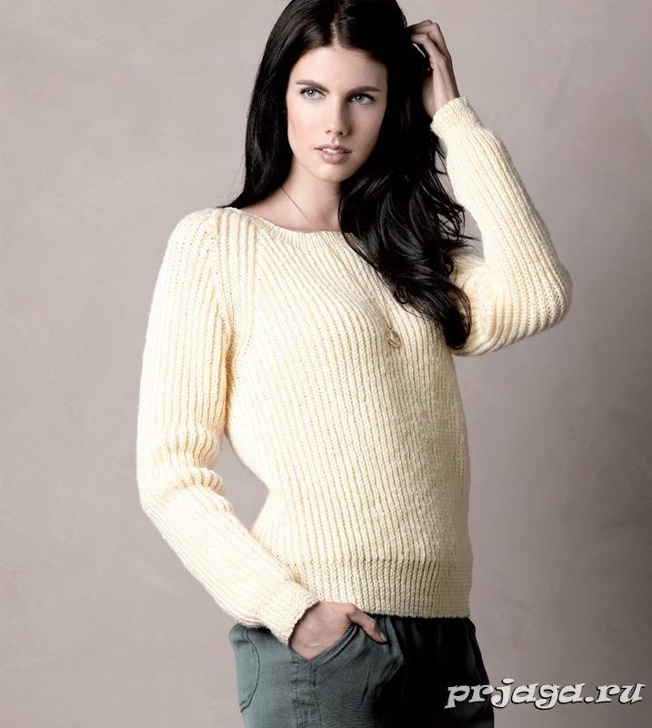 Пуловер с рукавами реглан спицами (английская резинка) 86