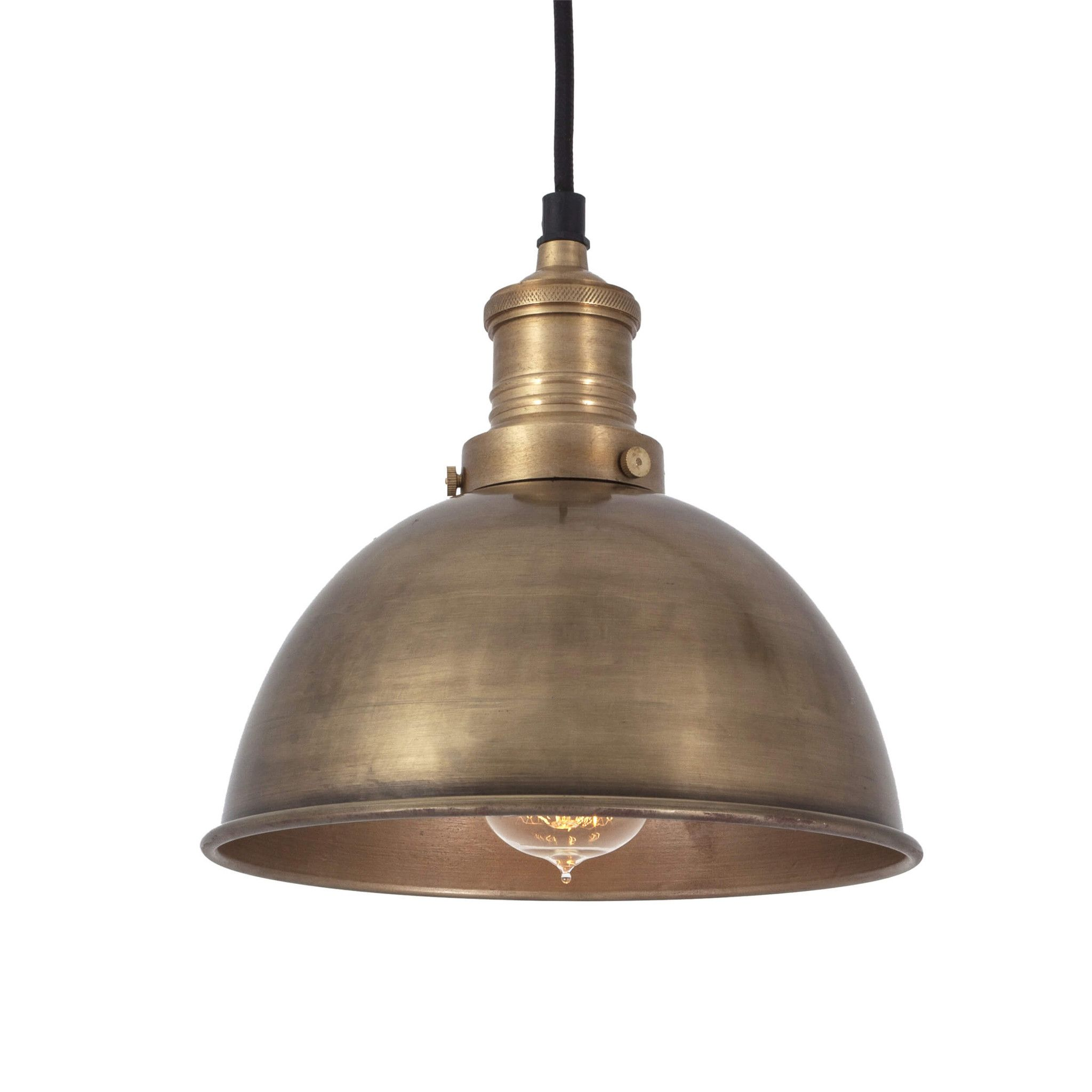 Brooklyn Dome Pendant - 8 Inch - Brass #951ryecourt