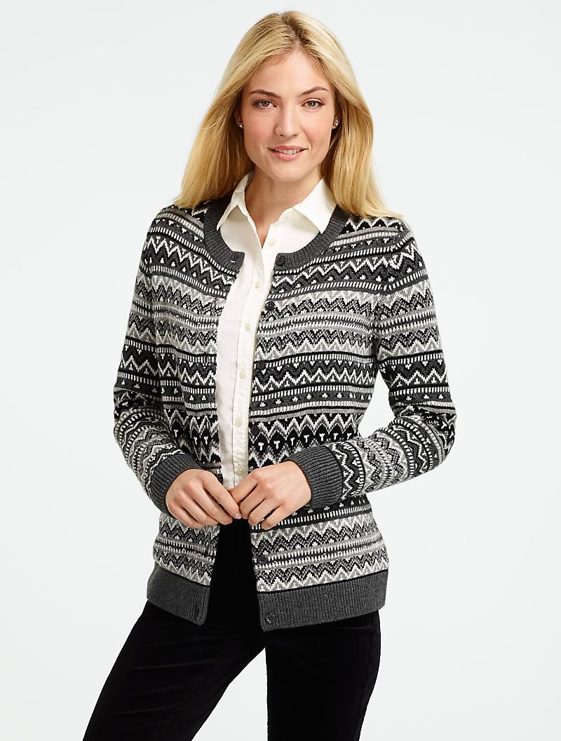 Talbots - Beaded Stripe Fair Isle Cardigan | Sweaters | Misses ...