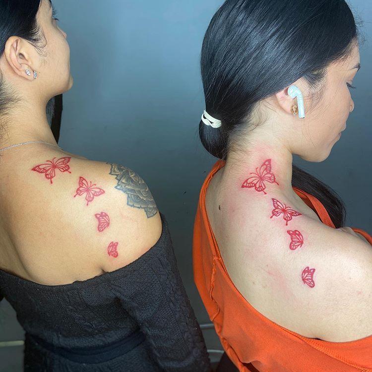 Red Butterflies Getinky Redink Chicagotattooartist Chicagotattoo Tattoosforgirls In 2020 Red Ink Tattoos Black Girls With Tattoos Stylist Tattoos