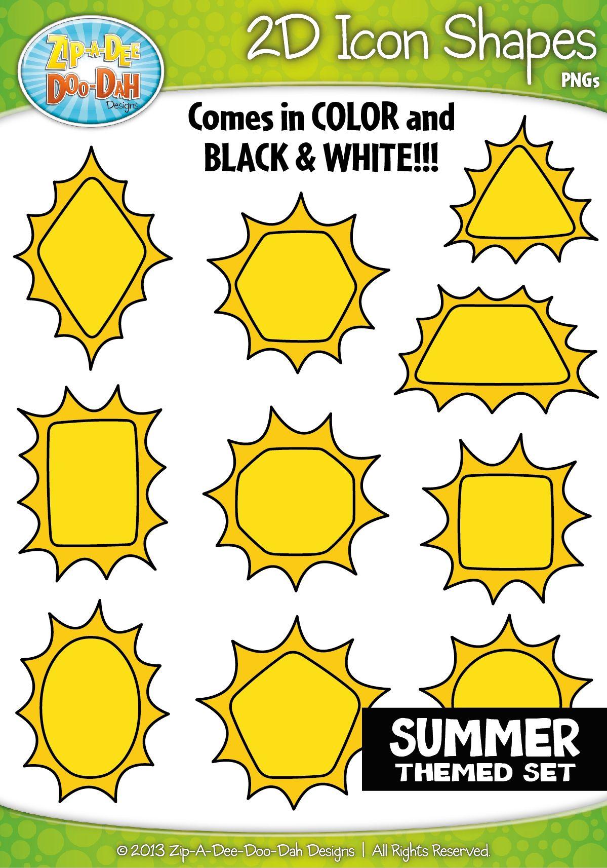 Summer 2d Icon Shapes Clipart Zip A Dee Doo Dah Designs Shapes Clip Art Learning Shapes [ 1713 x 1199 Pixel ]