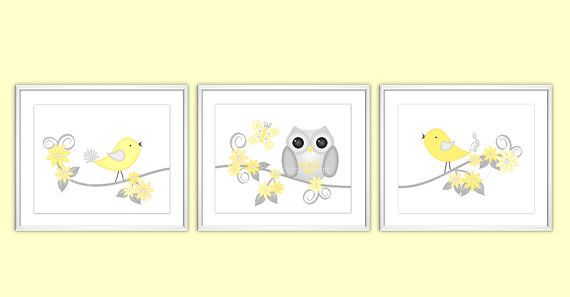 Baby Nursery Prints - 3 PRINTS SET - Yellow and Gray - Owl - Birds ...