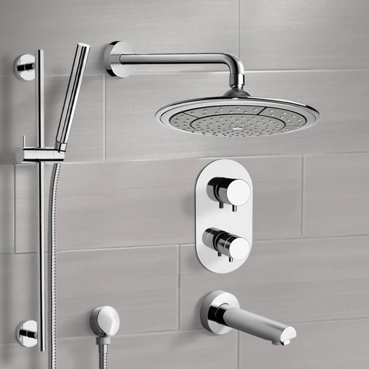 Chrome Thermostatic Tub And Shower System With 9 Rain Shower Head