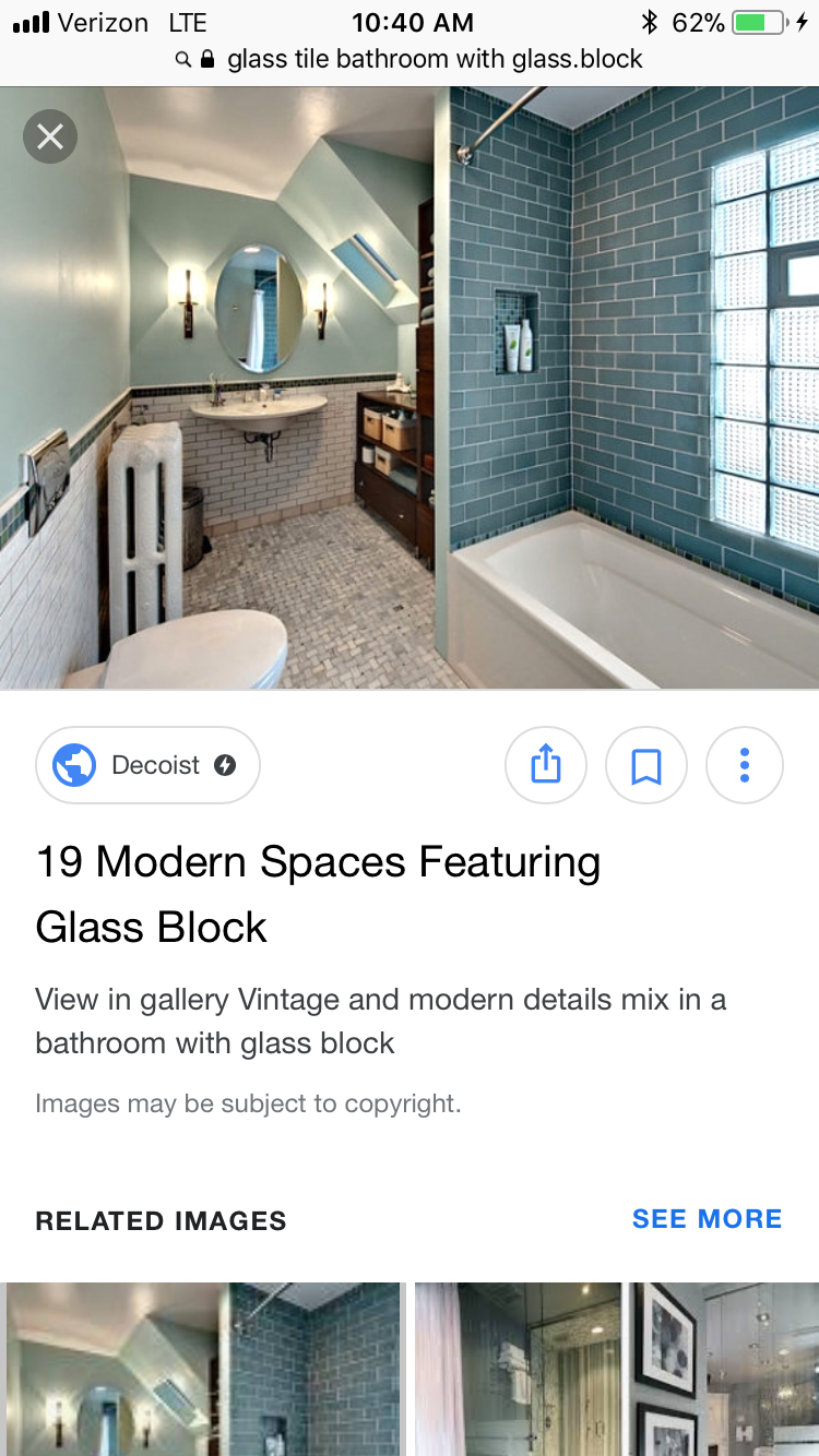Blue glass shower tile and glass block. Testing glass block and tile ...