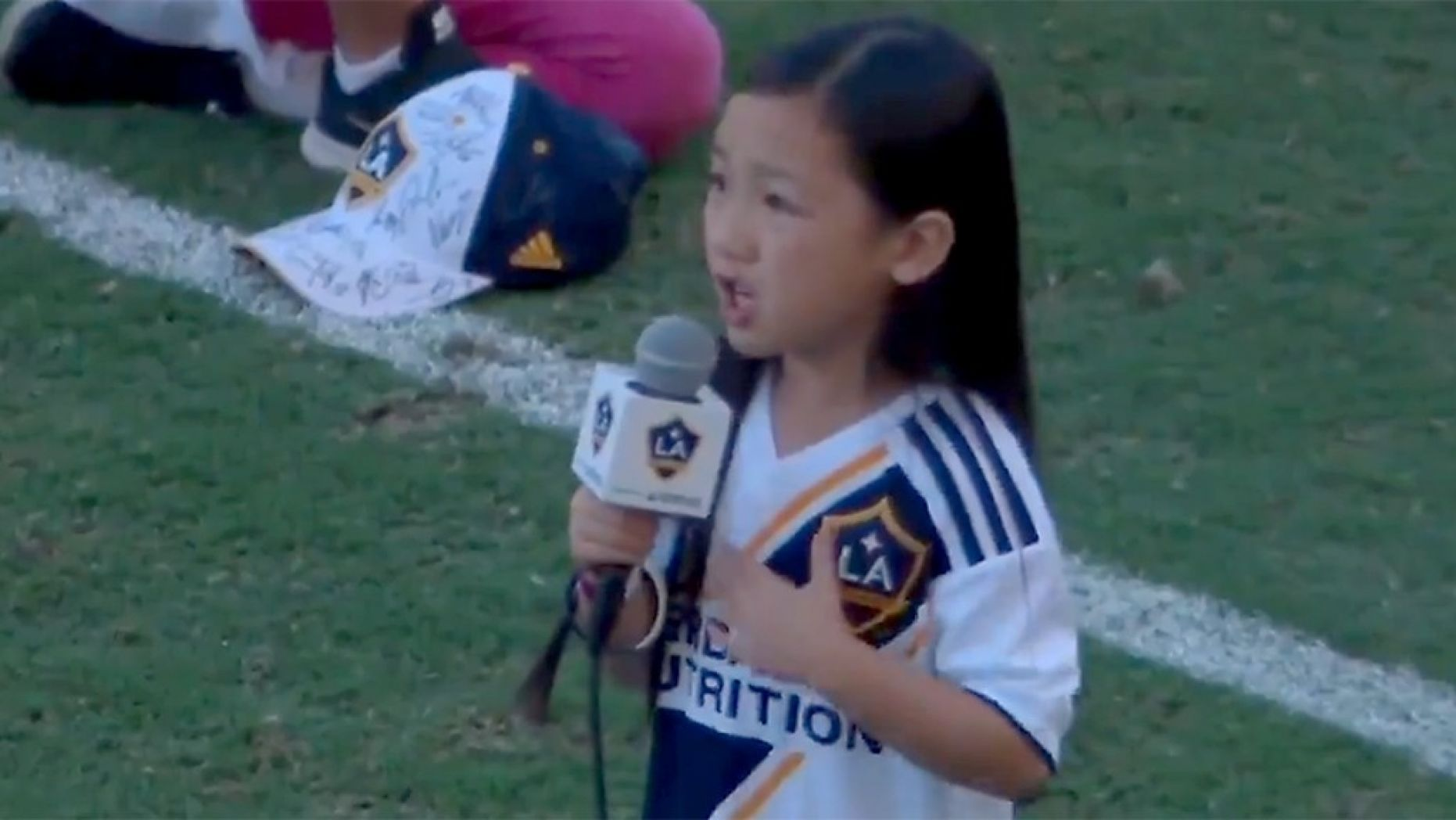 Girl, 7, belts out national anthem at LA Galaxy game in