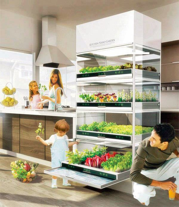 un potager dans la cuisine du futur organic herbs refrigerator and herbs. Black Bedroom Furniture Sets. Home Design Ideas