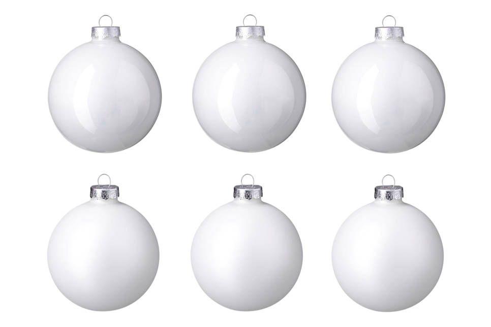 Glazen Kerstballen O8 Cm Set Van 6 Kerst Wit Fab Pinterest