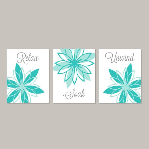 Bathroom Wall Art Teal Gray Bathroom Relax Soak Unwind Etsy Bathroom Wall Decor Art Bathroom Wall Decor Floral Bathroom Decor