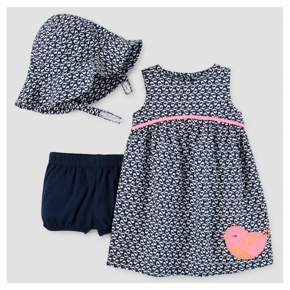 01cdb2b09d343 Just One You Made by Carter's Baby Girls' Birds Dress with Hat Set - Navy/Pink  3M, Infant Girl's, Size: 3 M, Blue