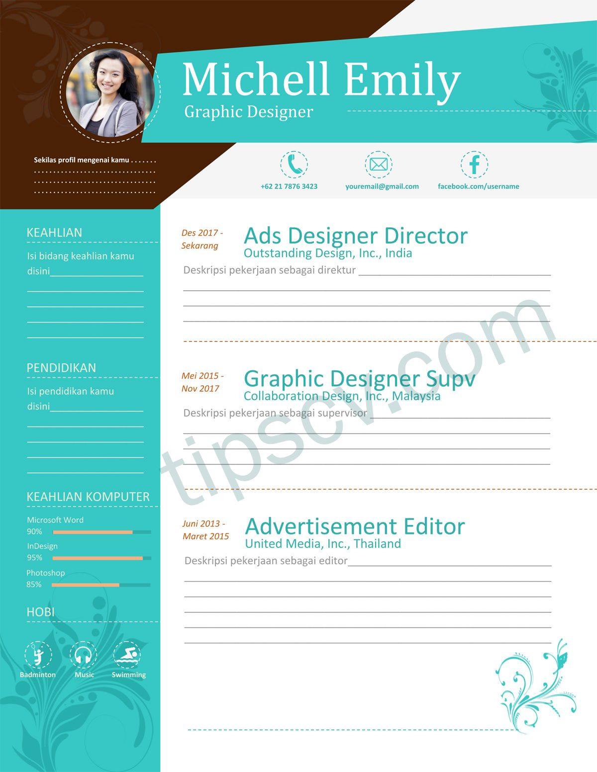 Download Contoh Cv Kreatif Format Word Dan Pdf Cv Kreatif Creative Cv Template Desain Resume