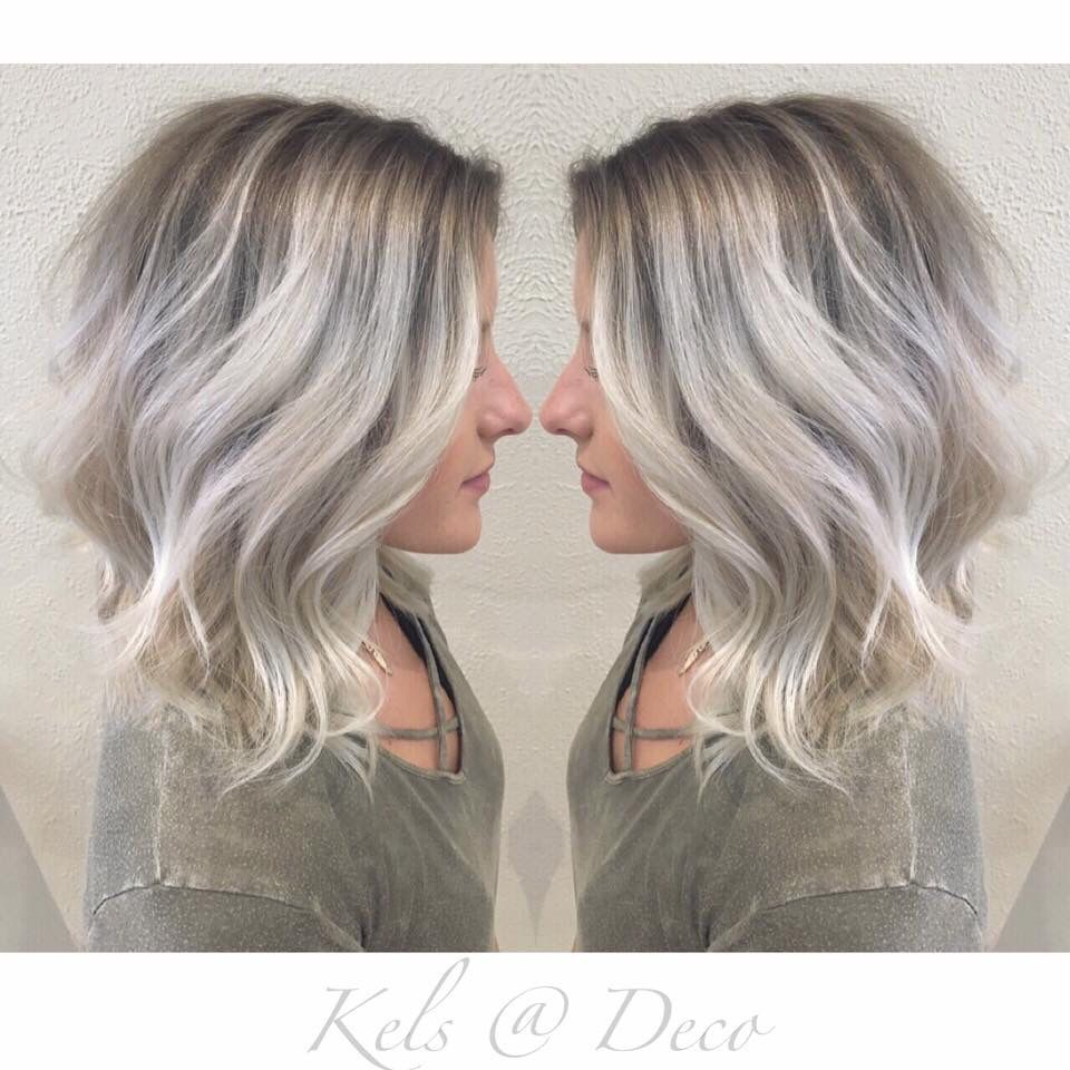 Icy Blonde Balayage With Ashy Roots Roots Hair Icy Blonde Balayage Hair Styles