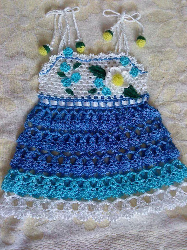 VESTIDO BLANCO Y GAMAS DE AZUL NIÑA | crochet | Pinterest | Gama de ...