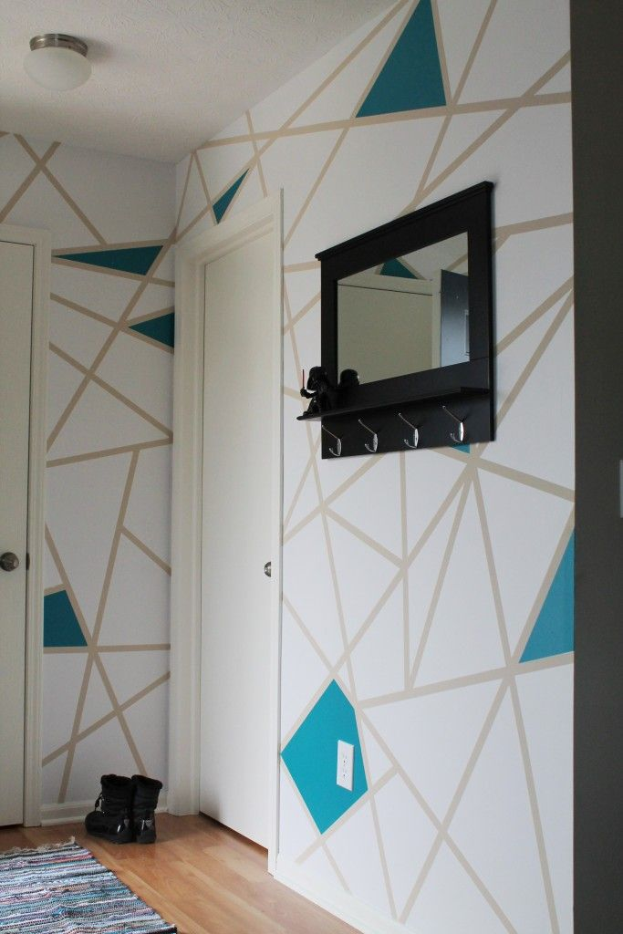 Diy Painter S Tape Accent Wall Lincoln Side Geometric Wall Paint