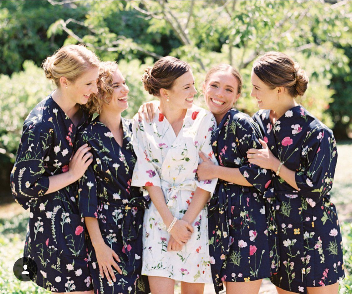 complete in specifications amazon kid Custom Cotton Bridesmaids Robes// Navy Floral Bridesmaids ...