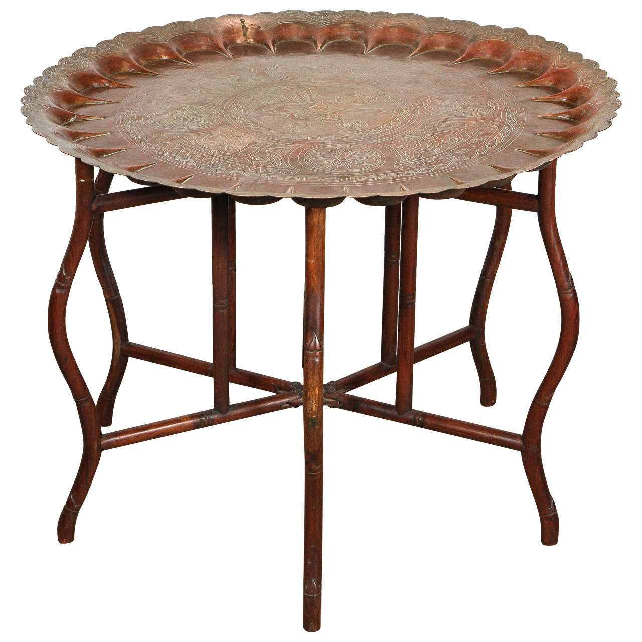 Large Turkish Copper Tray Table On Bamboo Folding Base