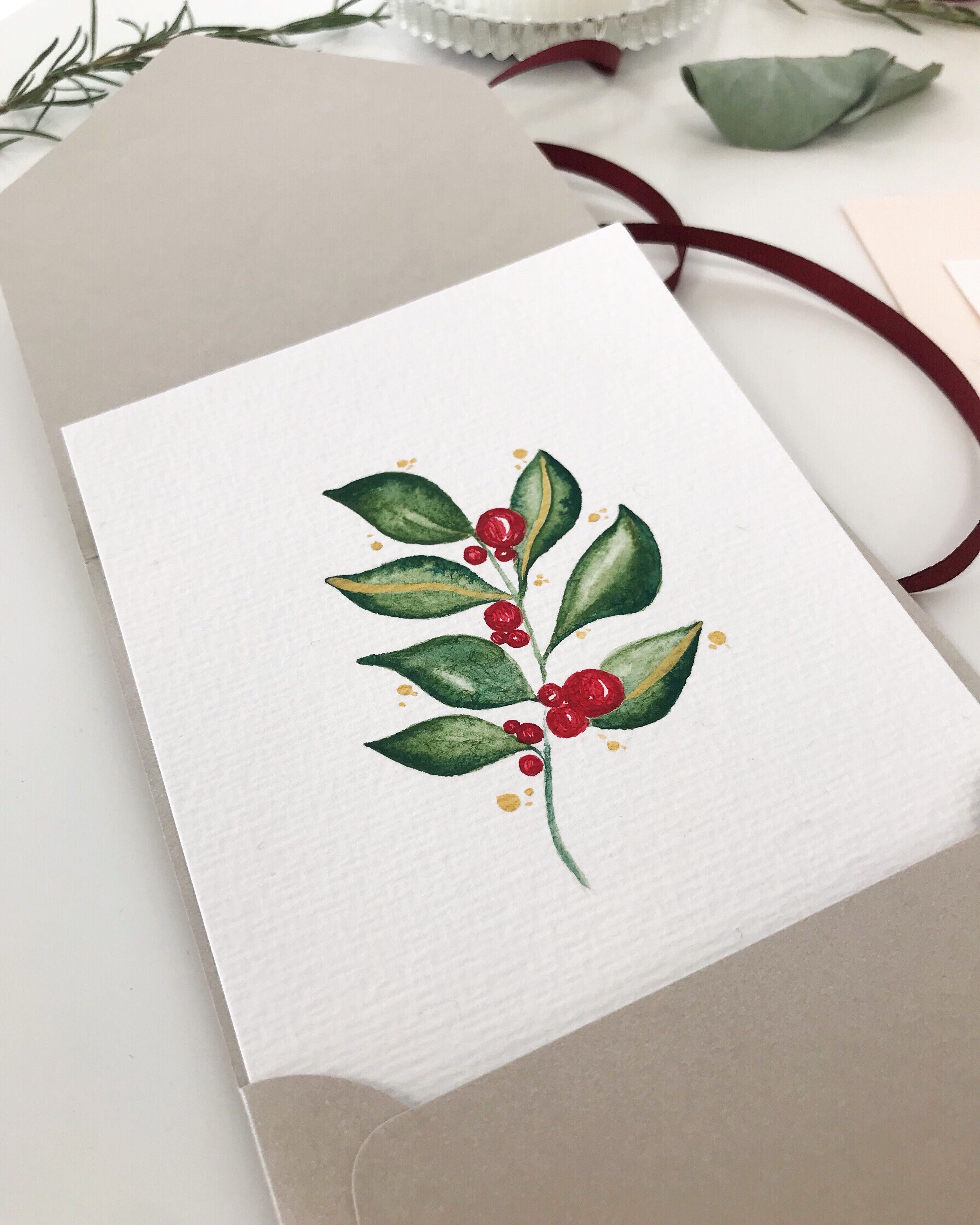 Weihnachtskarten Selber Machen Floral Ast Blume Weihnachtsgrusse