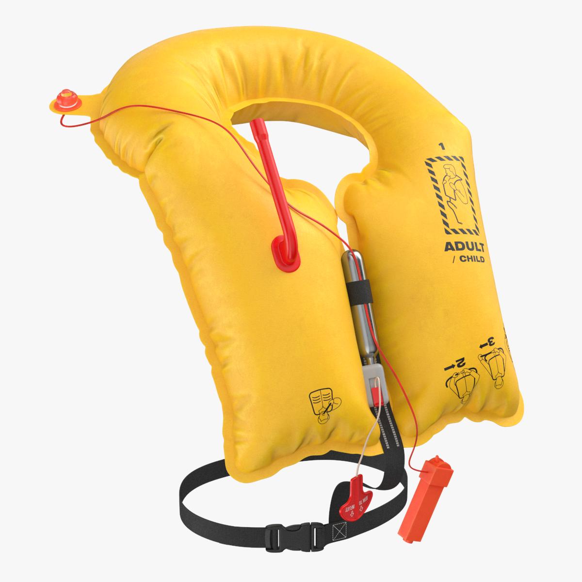 Aircraft Life Jacket Clear 3D model Equipment Wear Clothes
