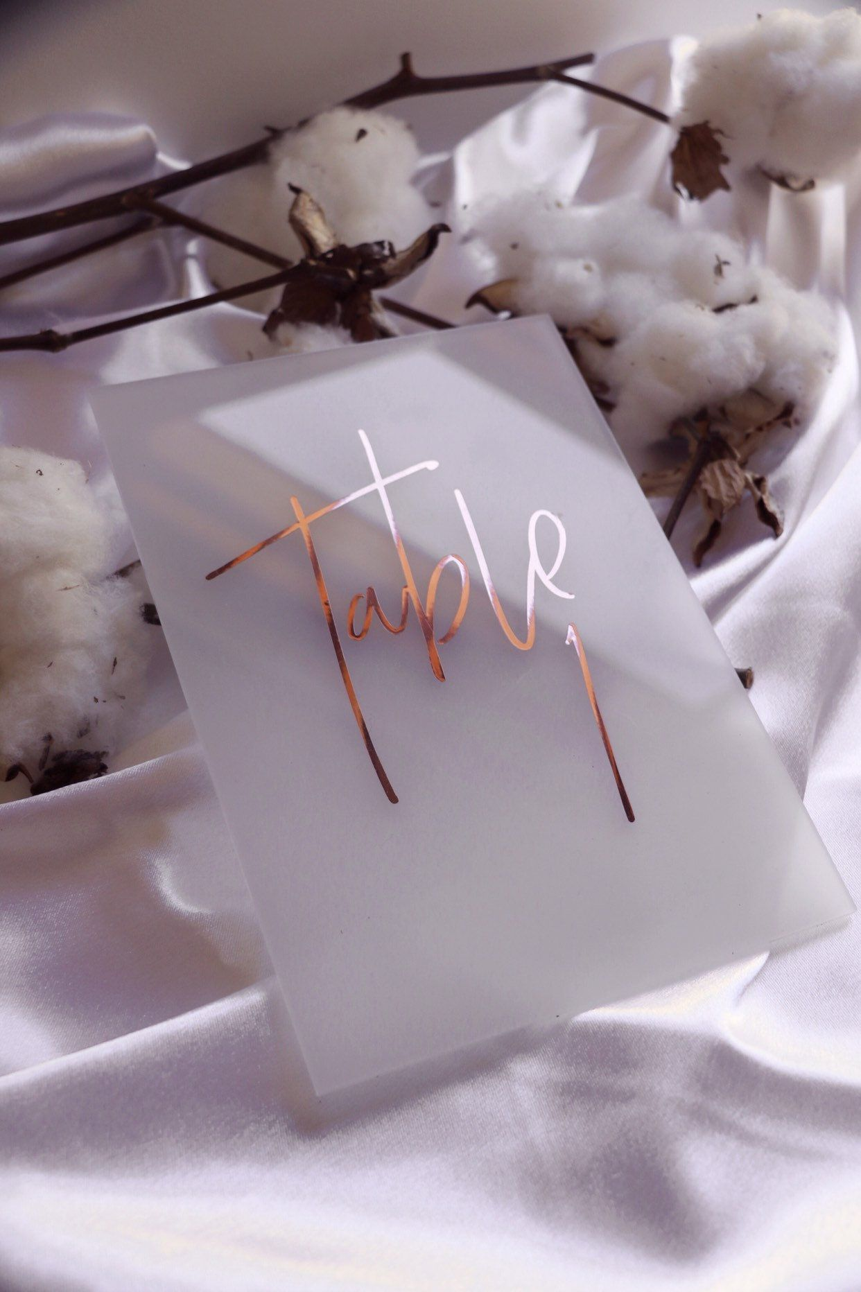 FROSTED Acrylic Table Numbers | Rose Gold Clear Acrylic Perspex Table Number Signage | Wedding Event Signs | Willow And Ink