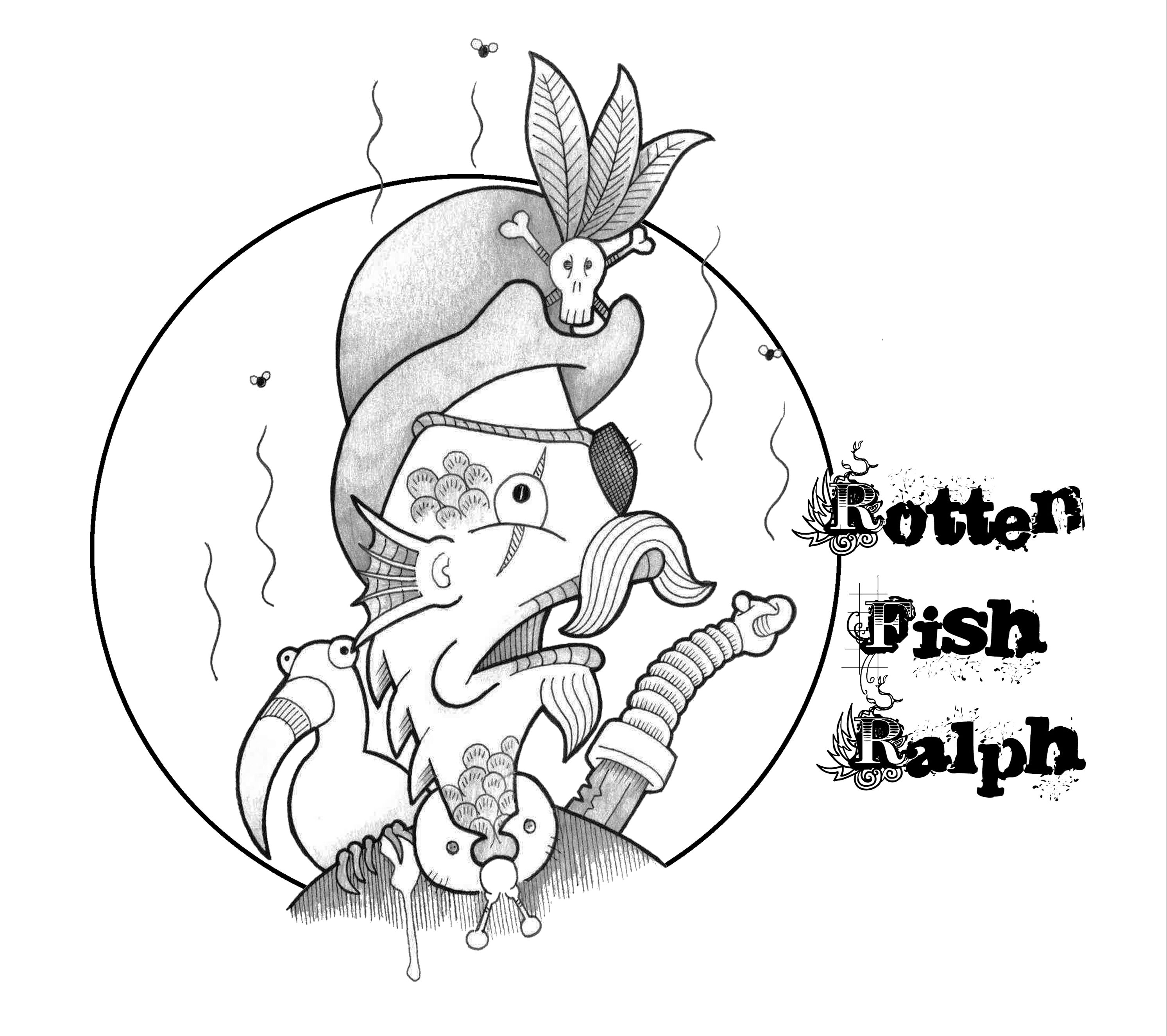 """Once Upon a Crime - Character Design (Rotten Fish Ralph) Idea for the fish person pirate captain, was thinking of possibly doing a parrot fish instead of a bird. """"I hate these damn landlubbers!""""  #AdiRileyArtist #OnceUponaCrime #art🎨 #illustration #drawing #pendrawing #inkdrawing #inkart #penandink #pencil #sketch #penart #colour #photoshop #drawings #creaturedesign  #monster #zombie #undertaker #character #characterdesign #detailed #original #detective #fantasy #novel #artdesign"""