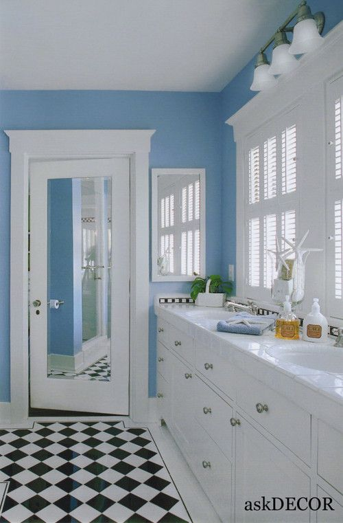 Adorable Light Blue Wall Colorful Kids Bathroom With White Dual Vanities And Black Whi Kids Bathroom Colors Black And White Tiles Bathroom Kids Bathroom Design
