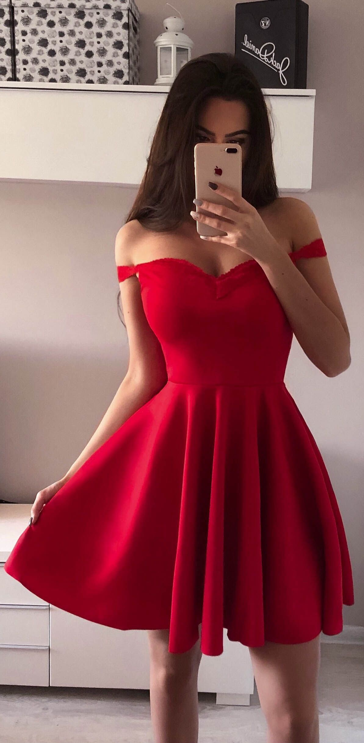 Off the shoulder red homecoming dresses broad strap little black