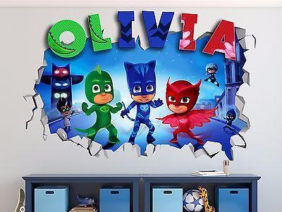 PJ Masks Custom Name 3D Wall Decal Kids Sticker Decor ...