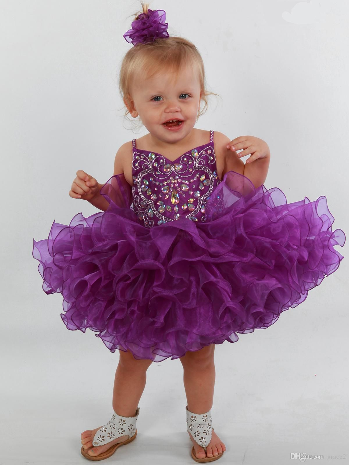 Purple Girls Pageant Dresses 2017 with Spaghetti Straps and Tiered