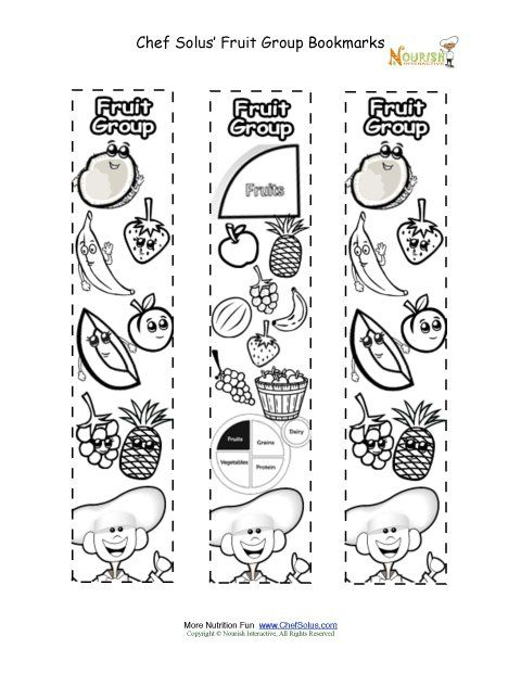 Myplate Worksheet Bookmarks Coloring Fruit Food Group Activity Chef Solus Fruit Group Group Meals Kids Nutrition Nutrition