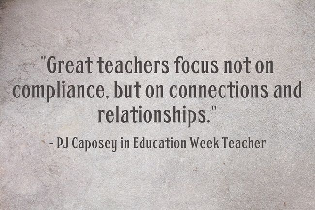 response great teachers focus on connections relationships