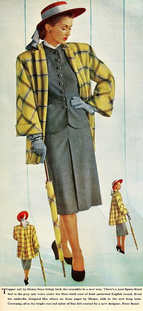 """Vintage fashion style 40s grey dress suit skirt jacket yellow plaid coat hat shoes 50s color photo print ad model magazine """"These Two Tiny Women Impersonating Me Are Very Annoying."""" 