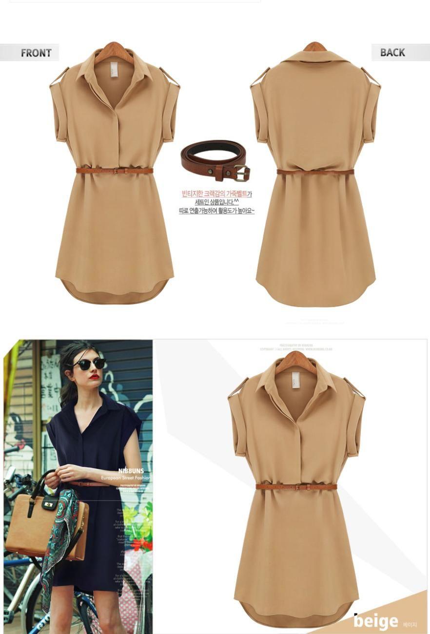 Summer chiffon dresses short sleeve turn down collar loose casual