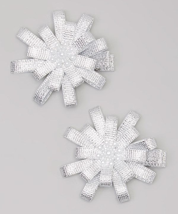 Look at this Bubbly Bows Silver Snowflake Clip Set on #zulily today!