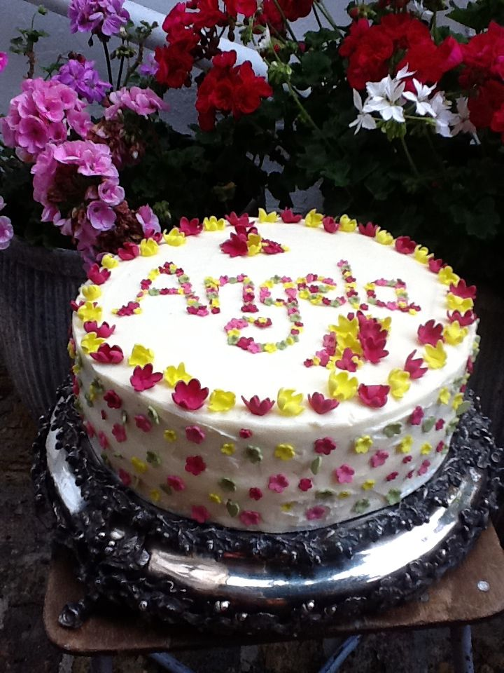Birthday Cake With Name In Small Flowers I Made This For My Sisters 50 Th Birthdayits A Carrot Cakesugar Paste Into Angela