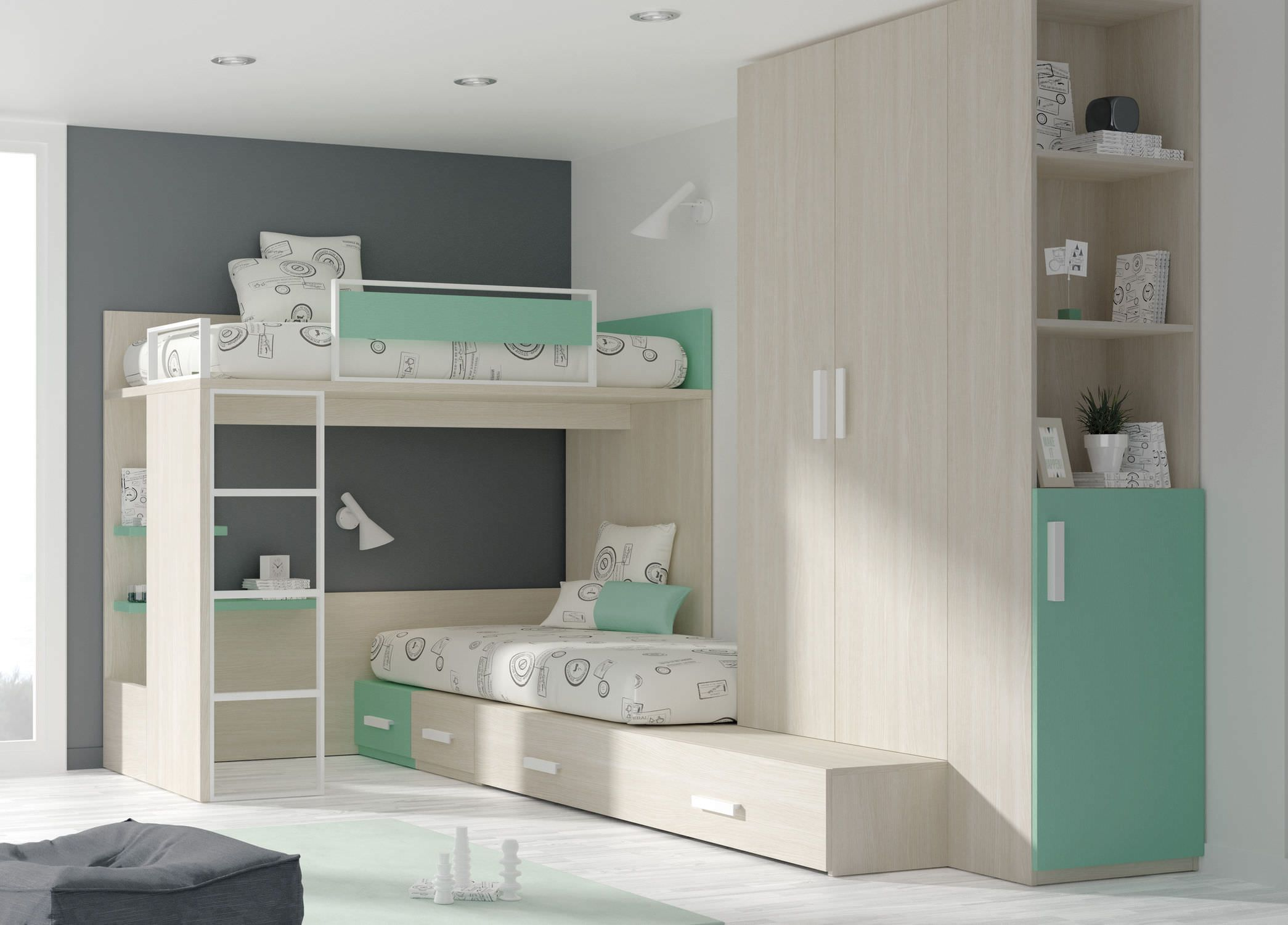 Single Bed Corner Bunk Contemporary Melamine Touch 43 Ros 1
